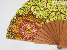 Spanish hand fan  African Baroque  Apple green by Olele on Etsy