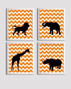 Kids Wall Art Chevron Orange Black Safari Animals set of 4 each 11x14. $56.00, via Etsy.