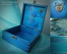 "Handmade blue jewellery box ""In blue"" pic.2 www.meriart.pl.tl #meriart #handmade #jewellerybox"