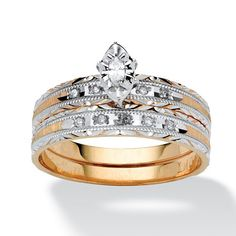A sensational two-piece diamond wedding band set, 1/7 carat T.W., will give you a lifetime of added pleasure. It\'s yourPrice - $549-ITksC0WZ