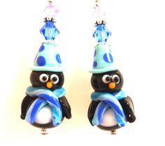 Penguin Earrings Christmas Earrings Fun by Elegencebyelaine, $32.00