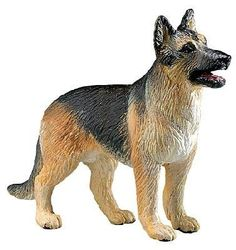 """Safari: German Shepherd by Safari Toys. $2.96. All Safari Ltd. products are hand-painted, phthalate-free and thoroughly safety tested to safe guard your childs health.. 4"""" L x 3"""" H (10 x 7.5 cm). Each replica comes with 5-language educational hangtag.. Age 3+. The German shepherd is keenly intelligent and loyal. Its strong, happy tail can clear tables with a single swipe. Mans best friend never looked so good. Fun friendly dogs and their puppies are a great ad..."""