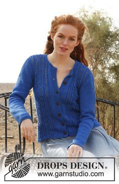 """Free pattern: Knitted DROPS jacket with lace pattern in """"Muskat"""". Size: S - XXXL"""