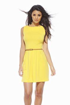 Slash Neck Belted Yellow Skater Dress