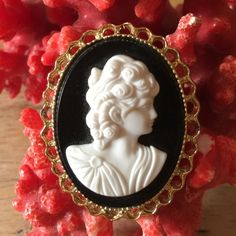 Vintage lucite cameo brooch Gorgeous gold tone frame Cameo Jewelry Brooches