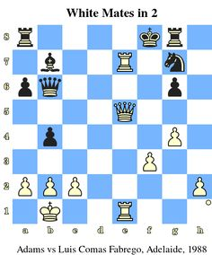 White Mates in 2. Adams vs Luis Comas Fabrego, Adelaide, 1988 www.chess-and-strategy.com #echecs #chess #jeu #ecole #logique