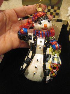 MacKenzie Childs Hand Blown Glass Feathered Friend Snowman Ornament **NIB