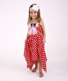 Another great find on #zulily! Red Polka Dot Handkerchief Dress - Toddler & Girls by Mia Belle Baby #zulilyfinds