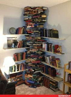 Make good use of your corners. | 35 Things To Do With All Those Books