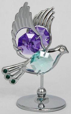 Taube Figur / Statue silberfarben Kristall Glas MADE WITH SWAROVSKI ELEMENTS - premium-kristall