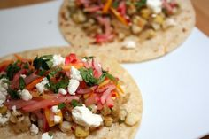 #Vegetarian Tacos With Goat Cheese #Recipe - Tofu, corn, baby spinach #meatless
