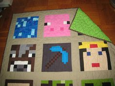 Handmade by Casey - Photo Gallery: Completed Projects - Minecraft Quilt Minecraft Quilt, Minecraft Room, Minecraft Party, Lego Room, Minecraft Ideas, Quilting Projects, Sewing Projects, Diy Projects, Sewing Hacks