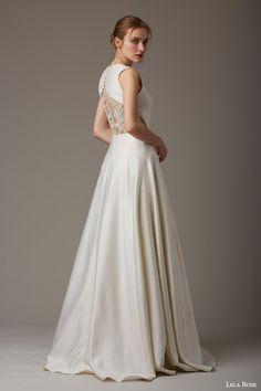 lela rose bridal spring 2016 green gable sleeveless wedding dress back view illusion embellishment