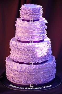 Violet Ruffle Cake ~ would make for a gorgeous wedding cake!