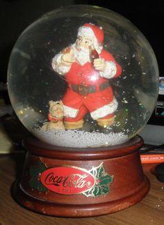 Vintage Snowdome Coca Cola Musical Santa & Scottie Dog - Wood Base