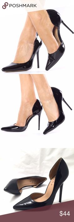 ShuShop Black Patent D'orsay Pumps Beautiful black patent faux leather. D'orsay style adds a sleek touch to this classic pump.  4.75 inch heels. Medium width. True to size. ShuShop Shoes Heels