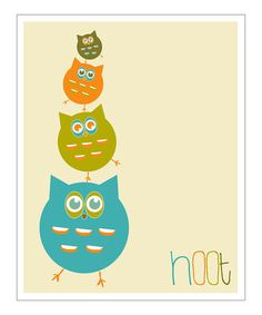 Take a look at this Blue 'Hoot' Giclée Print by Finny and Zook on #zulily today!