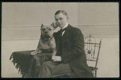 Man portrait Pit Bull Pitbull Dog original old 1910s private Real photo postcard