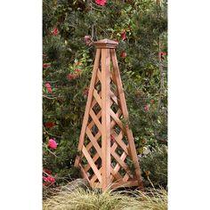 4-foot Western Red Cedar Wood Copper Clad Pyramid Obelisk Trellis