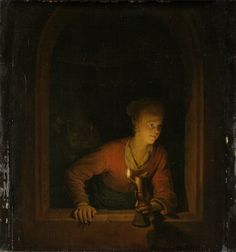 Girl with Oil Lamp at a Window (Curiosity) 1675