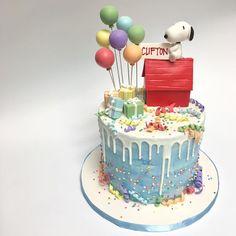 Deliciousarts Customcakes Cakes Birthday Birthdaycake Peanuts Snoopy Balloons Watercolor Dripcake Gifts Fondantart Westla Westpico Losangeles