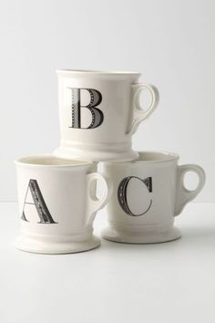 Must have monogram mugs, the perfect gift for everyone. Letter mugs, initial mugs by Anthropologie Monogram Mug. Enjoy a hot cup of coffee, tea or hot chocolate.