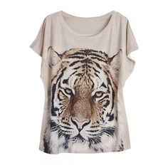 Round Neck Batwing Short Sleeve Tiger Print Loose Tee ($8.93) ❤ liked on Polyvore featuring tops and t-shirts