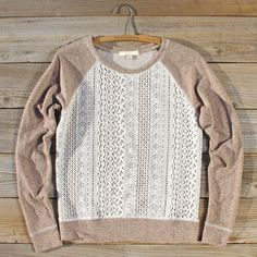 Fireside Nights Lace Sweatshirt, Women's Cozy Lace Sweatshirts from Spool 72.   Spool No.72