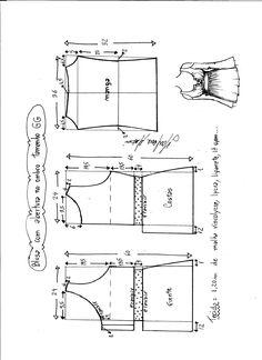 Esquema de modelagem de blusa com abertura no ombro para malha tamanho GG.