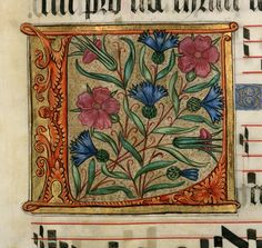 Illuminated Letter L - Cross stitch pattern pdf format Medieval Manuscript, Medieval Art, Illuminated Letters, Illuminated Manuscript, Illumination Art, Book Of Hours, Alphabet, Middle School Art, Letter Art