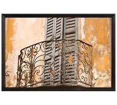 "Lake Como Balcony by Rebecca Plotnick, 28 x 42"", Ridged Distressed Frame, Black, No Mat"