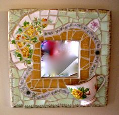 Mirror, china mosaics with 1/2 teacup, by Ada