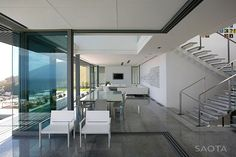 Head Road Fresnaye, Cape Town, South Africa - design by SAOTA Architects - Fresnaye House, Cape Town Residence, South African Architecture Contemporary Interior, Modern Interior Design, Interior Architecture, Contemporary Apartment, Modern Interiors, House Interiors, Cabana, Hillside House, Grand Homes