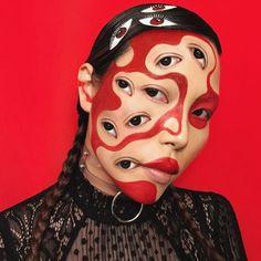 Mimi Choi, Optical illusions with makeup - ego-alterego.com Makeup Fx, Makeup Inspo, Makeup Inspiration, Beauty Makeup, Face Paint Makeup, Makeup List, Makeup Stuff, Body Makeup, Make Up Art