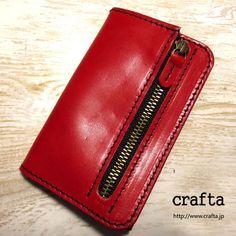 財布にもなるレザーキーケース「WALKEY」赤