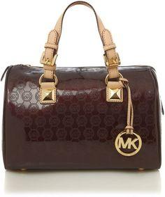 Michael by Michael Kors Greyson Patent Monogram Bowling Bag