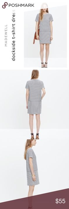 """Madewell  dockside shirt dress PRODUCT DETAILS With its nautical-inspired stripes, pop-on shape and cool on-seam pockets, this fuss-free mini dress is as easy to wear as a T-shirt. Constructed of a special textural Japanese piqué ponte, the stretchy style is made to last.    Nonwaisted. Cotton/poly. Machine wash. Import. bust 21"""" • length 35 1/2"""" Madewell Dresses Mini"""