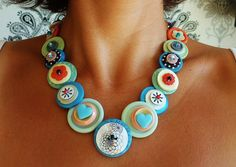 Reserved listing vintage button necklace - blue, mint and pink mix - charleston