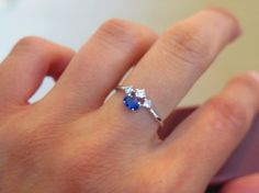 Sterling silver cubic zirconia & blue sapphire by HumbleandSpark