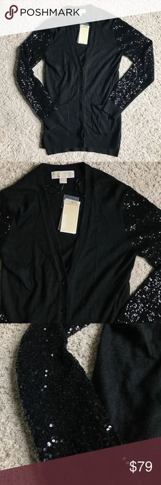 Michael Kors Sequin Sleeve Raglan Cardigan Black Beautiful sequin Sleeve Cardigan from Michael Kors. Cotton/viscose blend makes this super soft and gives it the perfect drape. Well made, the sequins really stay put. New with tags! Size XXS. MSRP $250. MICHAEL Michael Kors Sweaters Cardigans