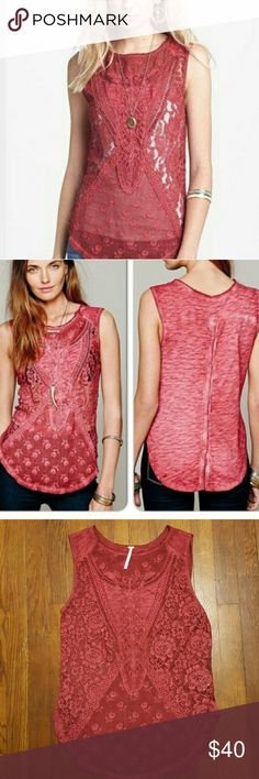 Free People Not So Sweet Victorian top Gorgeous lace front sleeveless top, dusty red color, has snaps in the back on the bottom half. Excellent condition, no flaws, size small Free People Tops Tank Tops