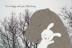 Original amour Illustration impression ours lapin lapin bois gris noir blanc Nature arbre Branches romantique mignon murale décor MiKa Art sur Etsy, CHF 8.19