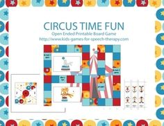 Open Ended Printable Game Boards - Circus Time fun