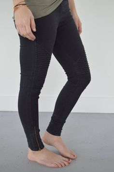 Black Moto Leggings with Ankle Zipper Accent Jeggings, Joggers, Black Moto Leggings, Cycle To Work, Maternity Jeans, Fashion Boutique, Motorcycles, Black Jeans, Skinny Jeans