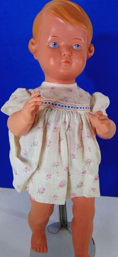 """.99 cent auction___Ca 1890 Doll Turtle Mark 35 Kestner Antique 19thC 14"""" tall German Schutz Home As ___ Hi there...... 14"""" tall, hand painted doll with the 'turtle in the triangle' mark, and #35. The turtle mark is of Rheinische Gummi und Celluloid Fabrik Co 1873+, and the number 35 indicates this was made for Kestner. Made of celluloid, or an early form of plastic, she has the molded hair, jointed, painted blue eyes. Very nice condition. Replaced clothing."""