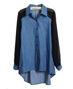 High Low Denim Blouse with Chiffon Sleeves