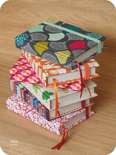 Handmade Stack of colorful case bound journals by Gabriella #bookbinding