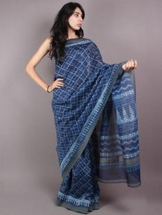 Indigo White Hand Block Printed in Natural Vegetable Colors Chanderi Saree With Geecha Border - S03170291