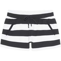 JUVIA Block Stripe Short Black & White // Striped sweat shorts ($98) ❤ liked on Polyvore featuring shorts and bottoms