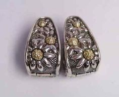 Ann King 18k Gold Sterling Huggie Earrings Marguerite Daisy Floral Retired - http://designerjewelrygalleria.com/ann-king/ann-king-18k-gold-sterling-huggie-earrings-marguerite-daisy-floral-retired/